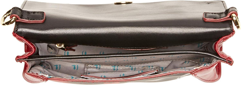 Schwarz 22x14x5 cm Black Heart Print K501 Trussardi Jeans Damen 75B00559-9Y099993 Tasche mit Handgelenksgurt