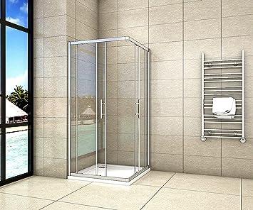 Aica - Cabina de ducha para esquina (70 x 70 cm, puerta corredera ...