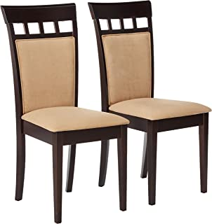 4233670e3208 Gabriel Upholstered Back Panel Side Chairs Cappuccino and Beige (Set of 2)