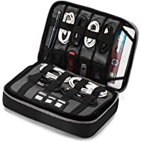 """BAGSMART 3-Layer Large Travel Cable Organizer Electronics Accessories Case for 9.7"""" iPad, Kindle, External Hard Drives, Cables, Black and Gray"""