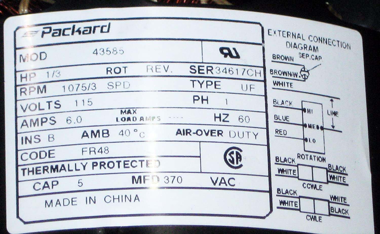 Packard 43585 Direct Drive Blower Motor, 1/3 hp, 115V, 1075 RPM ...