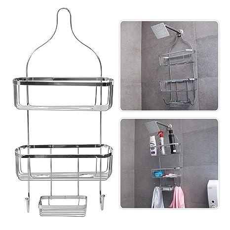 Livzing 3 Tier Bathroom Shelf Hanging Shower Head Caddy Holder Organizer Metal Chrome Plated Storage for Shampoo Conditioner Soap Towels