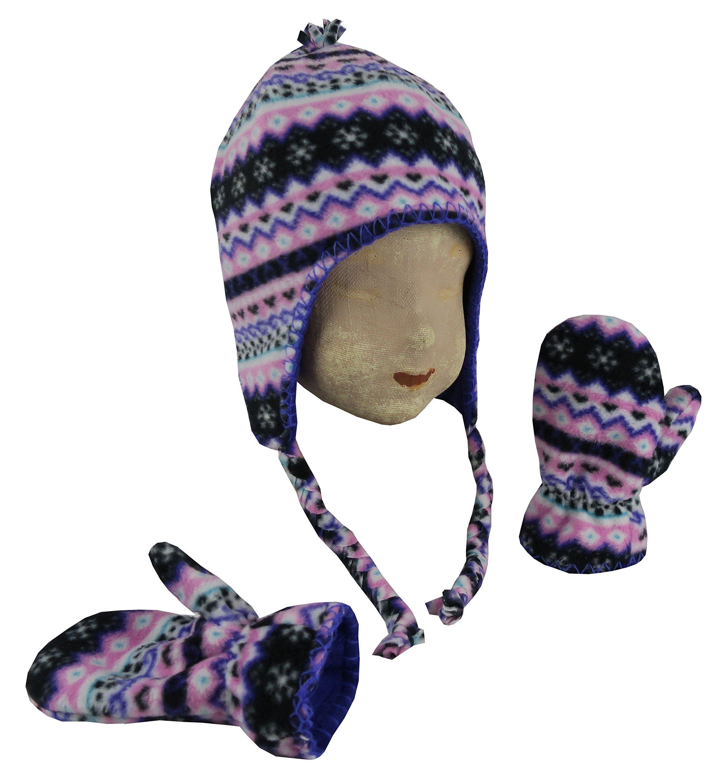 N'Ice Caps Little Kids and Baby Reversible Hat and Mittens Fleece Skater Set (2-3 Years, Neon Purple/Black Fairisle)