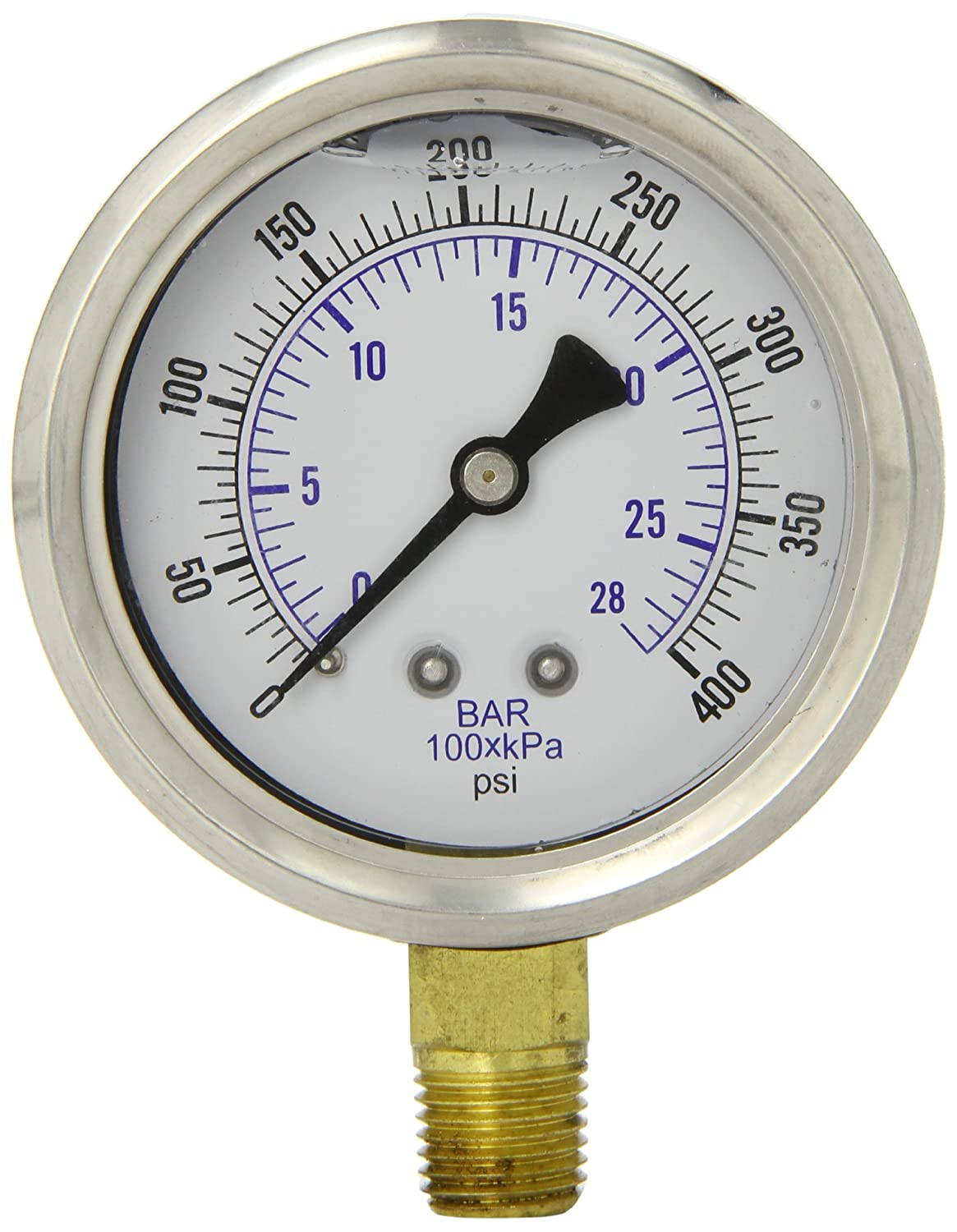 PIC Gauge PRO 201L 254I Glycerin Filled Industrial Bottom Mount Pressure Gauge with Stainless Steel Case Brass Internals Plastic Lens 2 1 2 Dial Size 1 4 Male NPT 0 400 psi