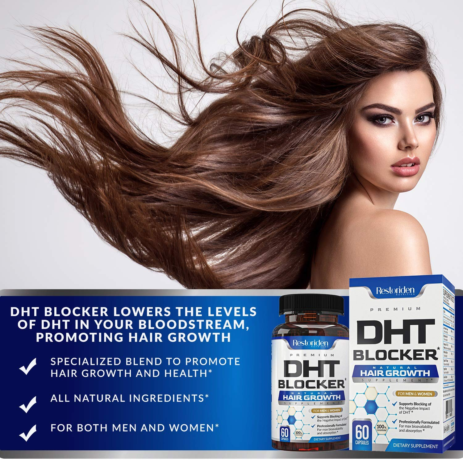 Restoriden DHT Blocker Hair Loss Supplement - Supports Healthy Hair Growth - Helps Stimulate New Hair Follicle Growth - With High Potency Biotin and Saw Palmetto - For Men And Women - One Month Supply : Beauty
