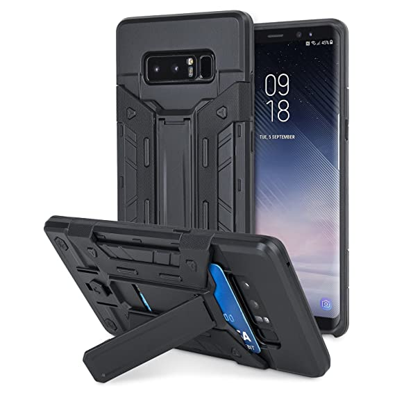 on sale 1c7f0 659c2 Olixar Samsung Galaxy Note 8 Tough Case - Heavy Duty Armor - Built in  Kickstand - Credit Card Slot X-Trex - Black