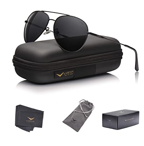22de06be76 LUENX Men Women Aviator Sunglasses Polarized Non-Mirrored All Black Lens  Metal Frame UV 400