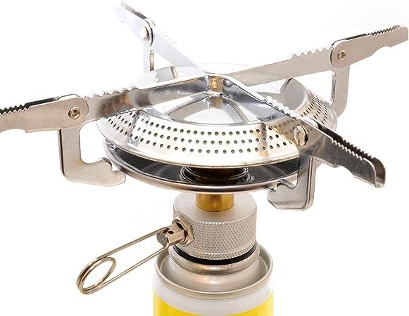 Gas butano-hervidor/Einflammkocher para todos los cartuchos estándar con rosca (válvula tipo 1), compacto camping hervidor con cromado superficie y ...