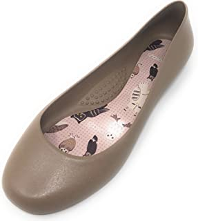 product image for Georgia Pump Ballet Flats Closed Shoes with Owl Decorated Soles by OkaB Color Chai (6)