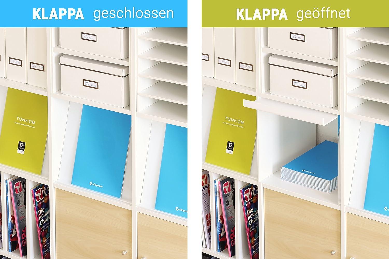 Ikea Kallax Regal // 2 Positionen: einh/ändig bef/üllbar // Ideal f/ür Reiseb/üros Agenturen f Lagerung v Pr/äsentation u Prospekten Magazinen Zeitschriften im Kallax 4er-Set Prospektklappe f