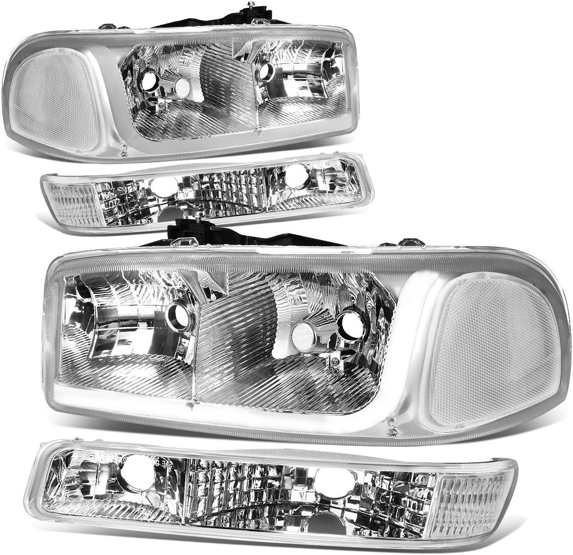 Replacement for 99-07 GMC Sierra Pair 00-06 Yukon LED DRL Black Housing Clear Corner Headlight w//Bumper Lights//Lamps