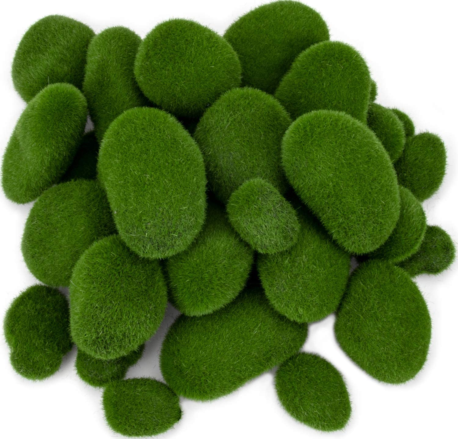 Nicunom 40 Pcs Artificial Moss Rocks Decorative Faux Green Moss Covered Stones Fake Moss Balls for Garden Decor DIY Floral Arrangements Plant Poted Decoration, 5 Size