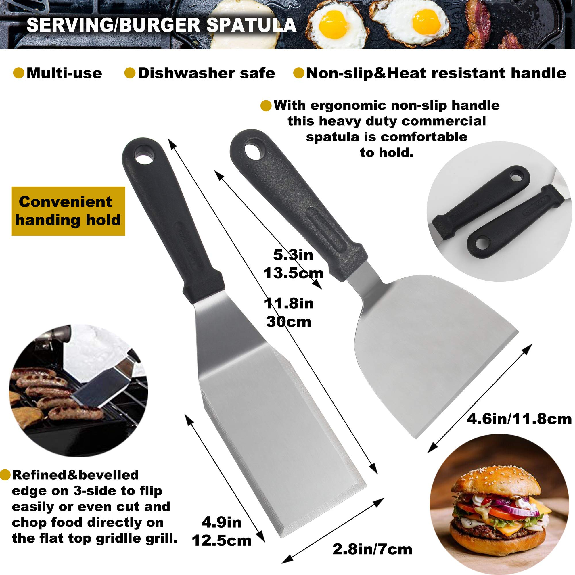 ROMANTICIST 11PC Griddle Accessories Kit with Carrying Bag - Restaurant Grade Griddle Spatula Set for Flat Top Grill Hibachi Cooking - Perfect BBQ Gift for Men Dad on Fathers Day by ROMANTICIST (Image #3)