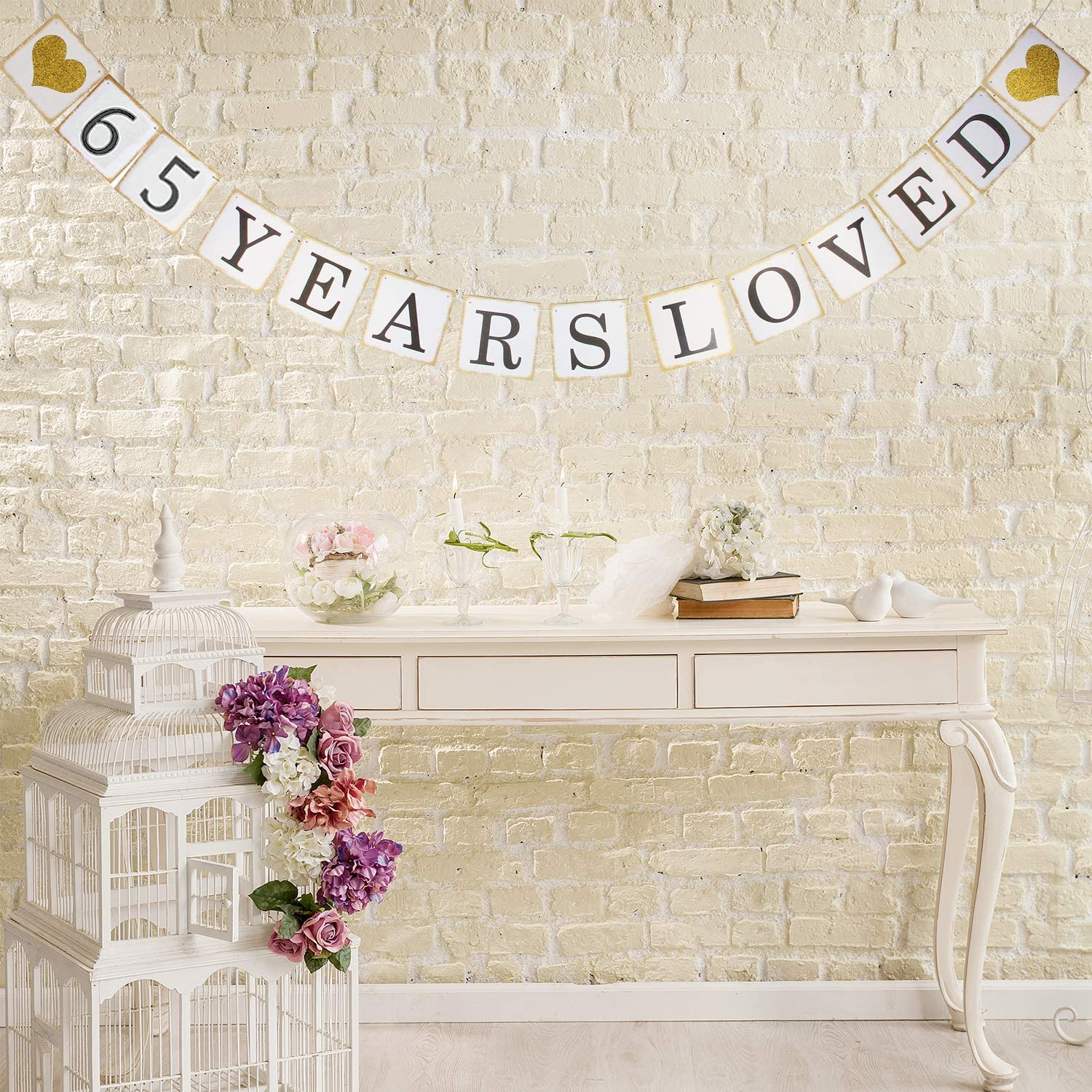 65TH Birthday Party 65th Anniversary Party Decoration Bunting (Gold and White) Hatcher lee 65 Years Loved Banner 65