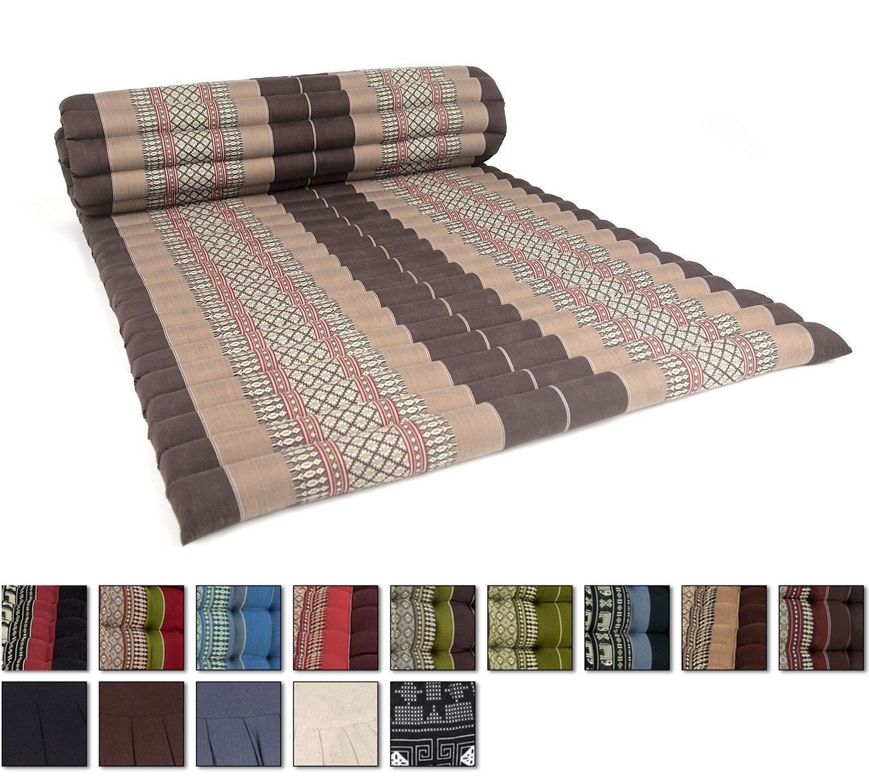 Leewadee Roll Up Thai Mattress, 79x30x2 inches, Kapok Fabric, Brown, Premium Double Stitched