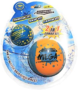 Wave Runner Soft Foam Water Skipping Ball | 2-Pack Bundle | Speed Duo Set Includes Two Water Bouncing Balls Mega Ball & Grip Ball | Great Summer Toy for Beach Swimming Pool River Lake
