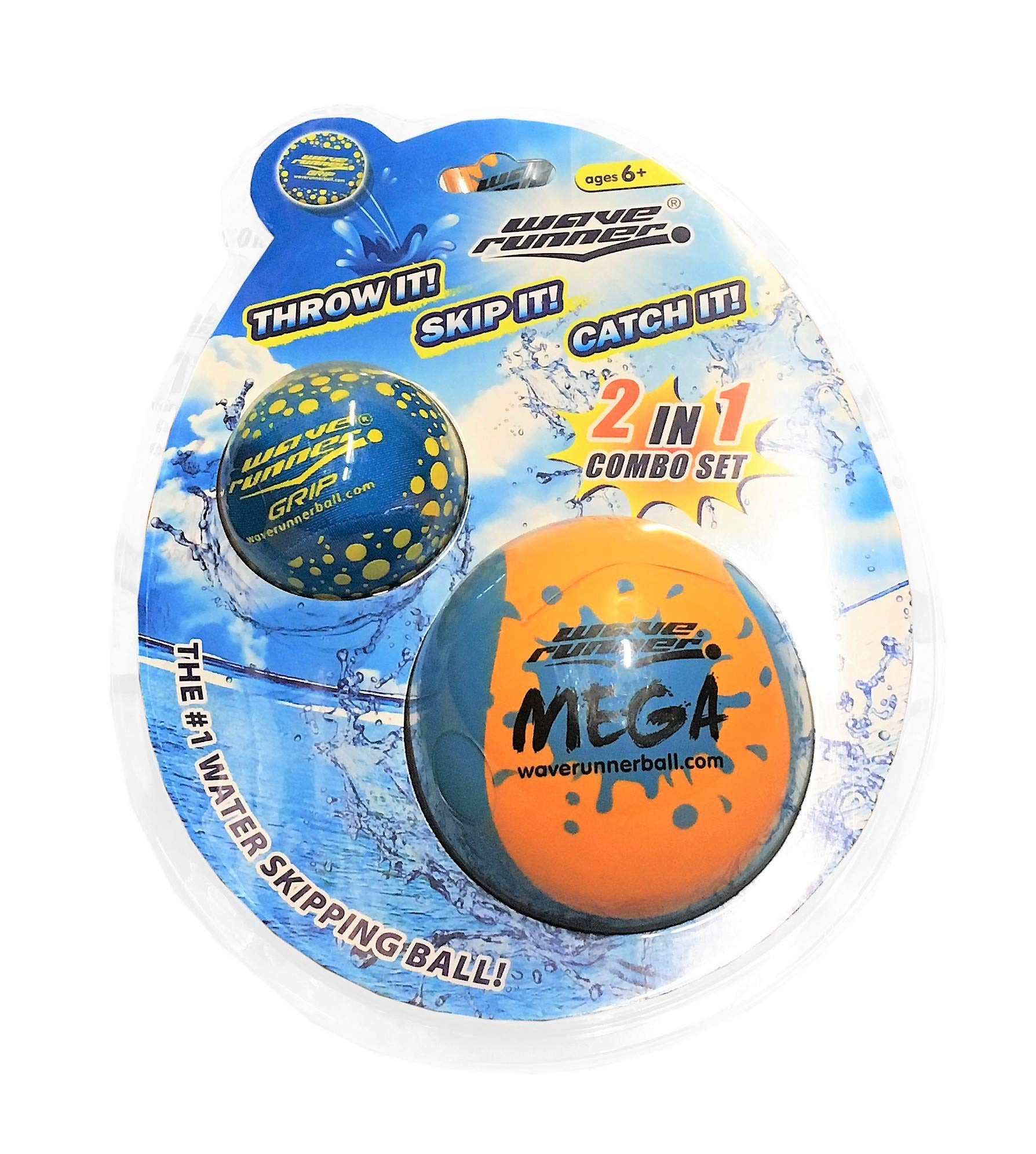 Wave Runner Soft Foam Water Skipping Ball | 2-Pack Bundle | Speed Duo Set Includes Two Water Bouncing Balls Mega Ball & Grip Ball | Great Summer Toy for Beach Swimming Pool River Lake by Wave Runner