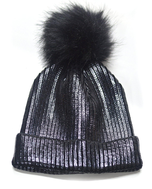 1738719ece9 FADA Winter Chunky Knit Party Metallic Shiny Beanie Skull Pom Pom Hats Cap  at Amazon Women s Clothing store