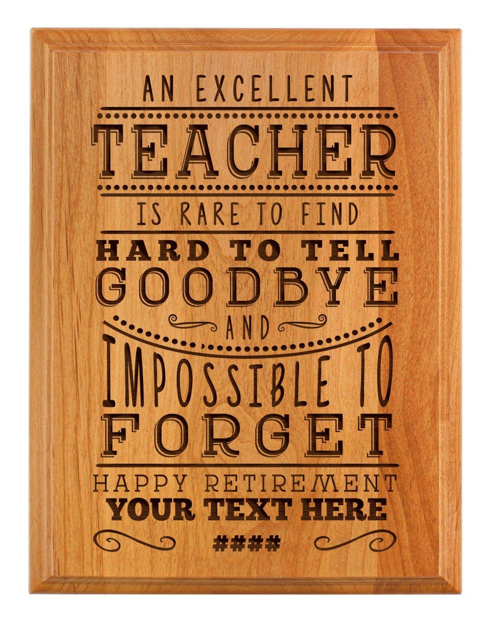 Personalized Retirement Plaque Excellent Teacher Retirement Gifts Women Teacher Retirement Party 7x9 Oak Wood Custom Engraved Plaque Wood