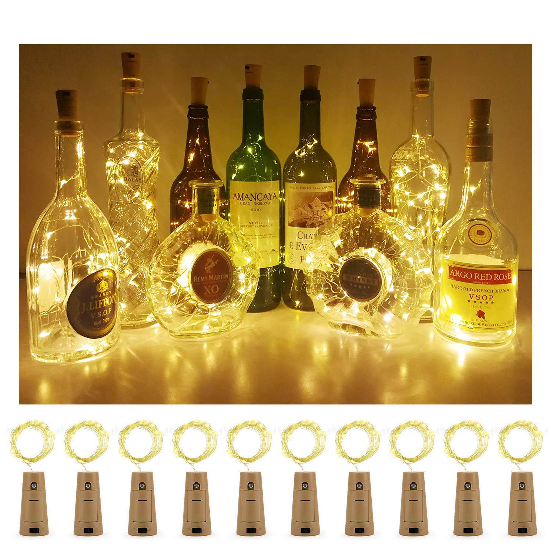 Aluan Wine Bottle Lights 12 Led Cork Bottle Lights Waterproof Battery Operated Wine Cork Lights with Screwdriver for DIY Party Wedding Christmas Bar Bottle Jar Lamp Decor 10 Pack, Warm White