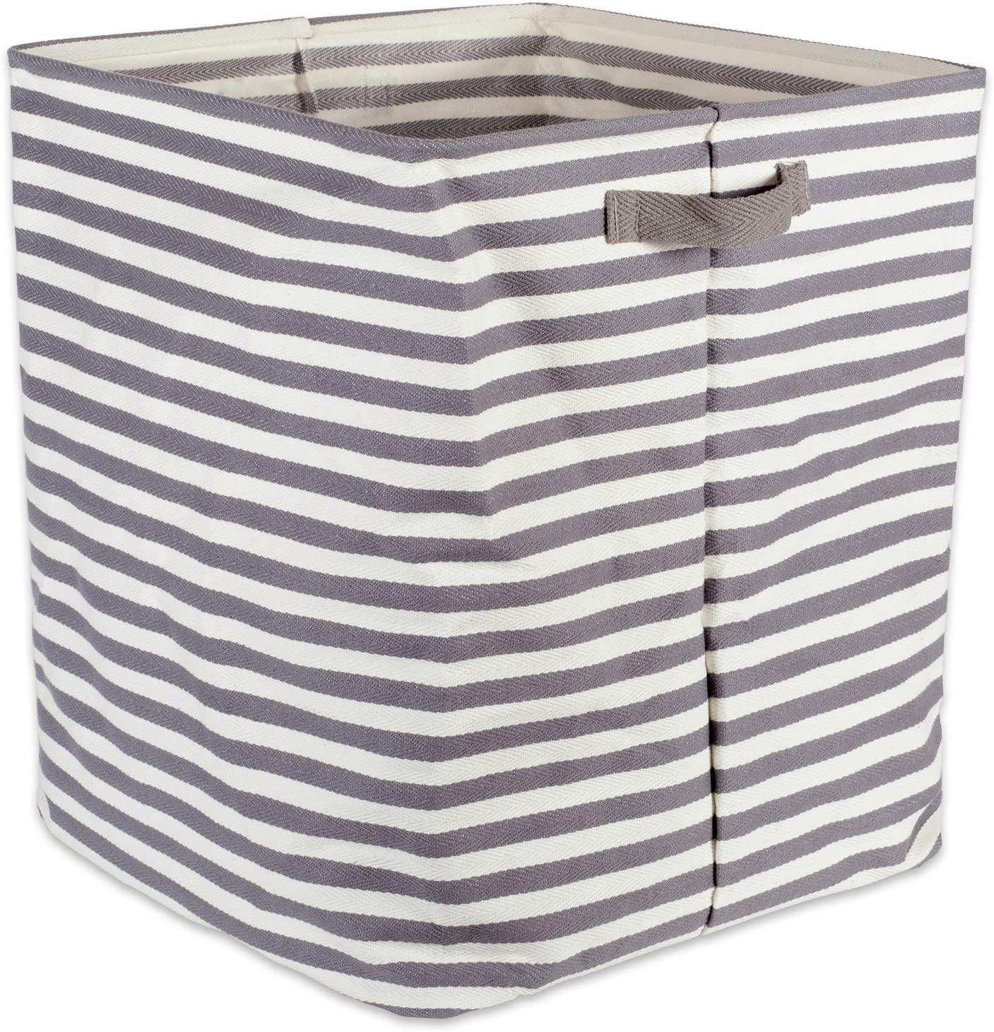 "DII Cabana Stripe Collapsible Waterproof Coated Anti-mold Cotton Rectangle Hamper, Perfect For Laundry Room, Bedroom, Nursery, Dorm, Closet, and Home Organization, 16 x 16 x 19"" - Gray"