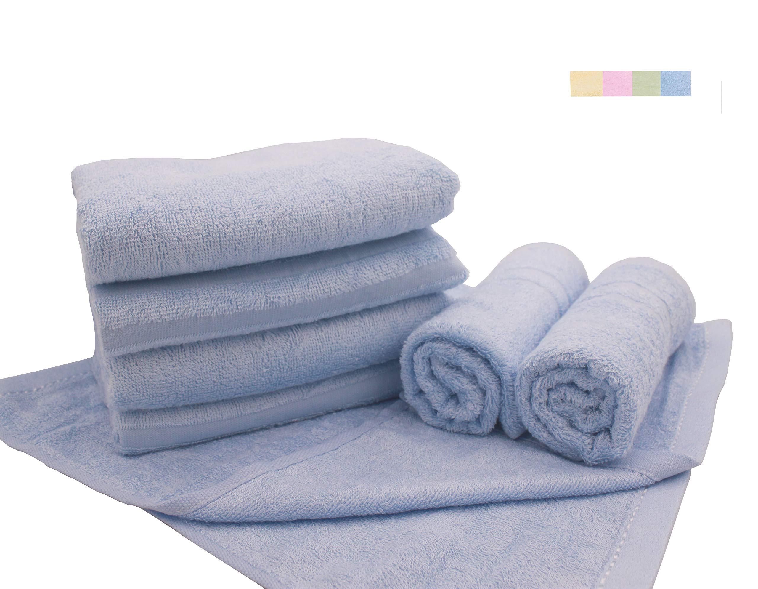 Home Bath Towel 100% Bamboo Fiber Fade-Resistant Super Soft and High Absorbent,2 Bath Towels,2 Hand Towels,2 Wash Clothes.Smoke Blue