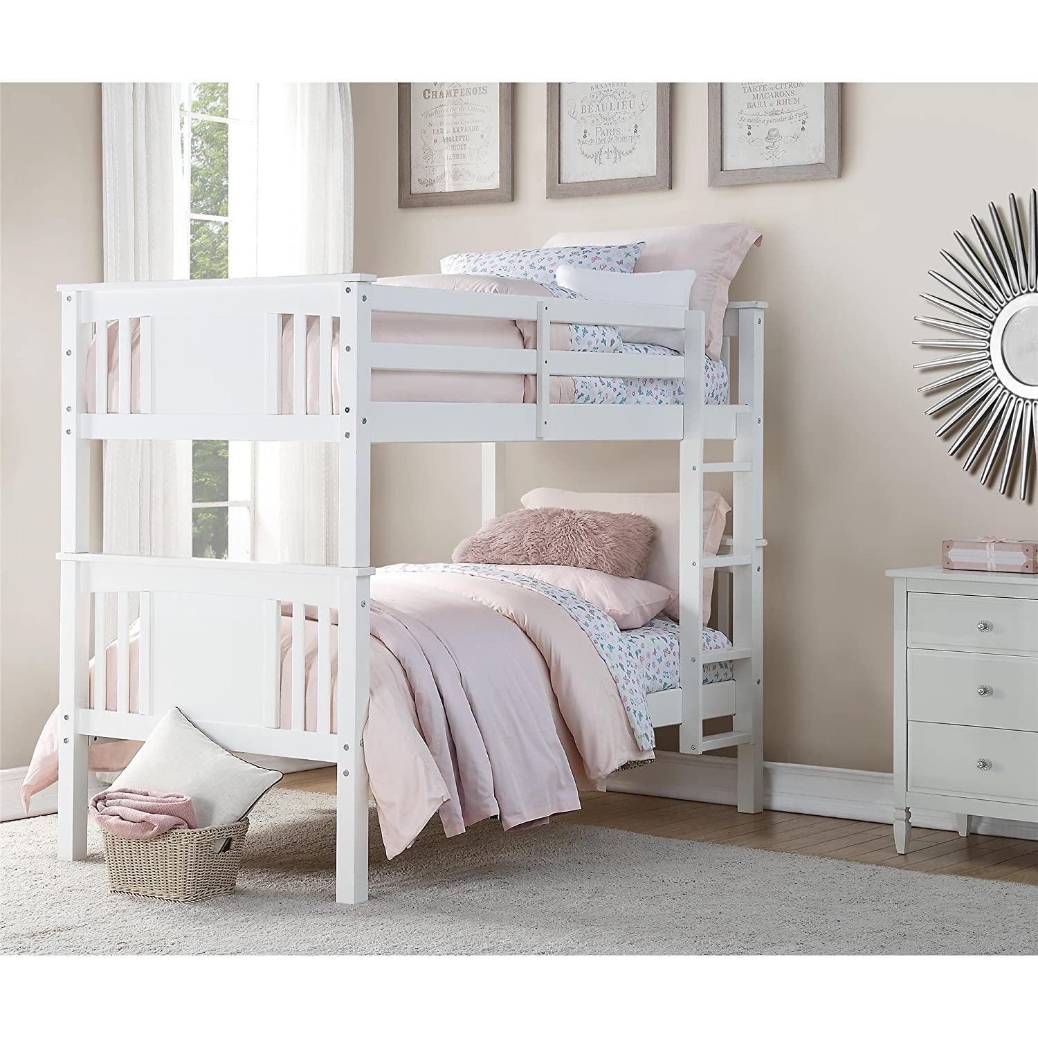 Dorel Living Dylan Bunk Bed, Twin, White
