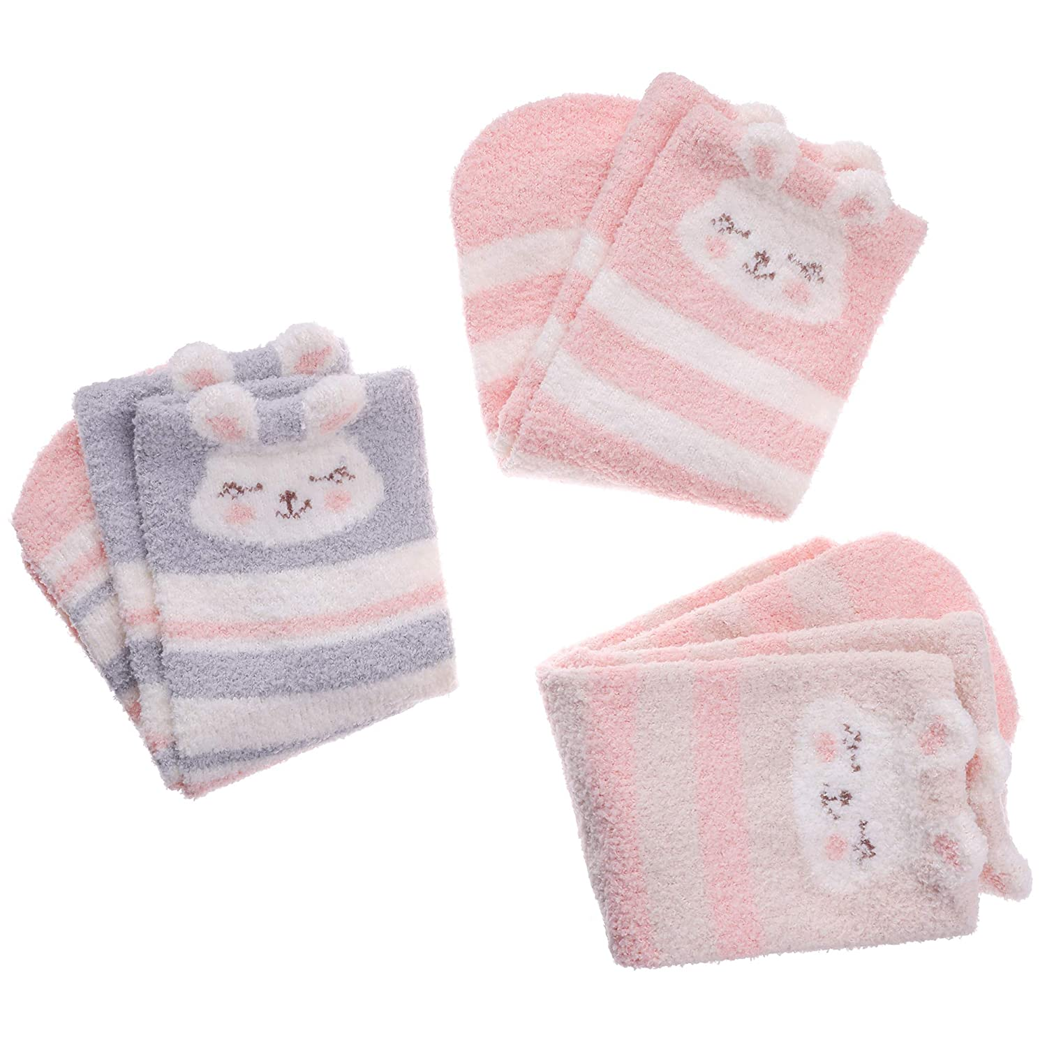 LANLEO Toddlers Kids Cute Cartoon Animal Fuzzy Socks Girls Boys Super Soft Warm Microfiber Winter Socks 3 Pairs