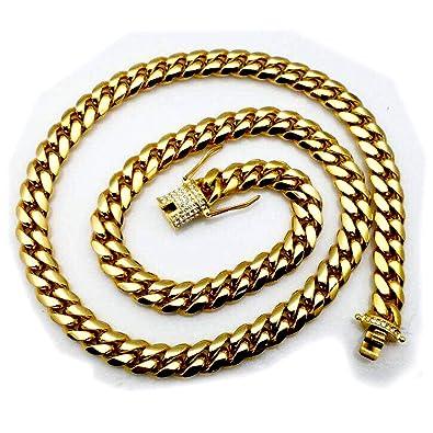 aa953f41f8e1 Big Miami cubano cadena de eslabones collar 14 mm pesado 18 K oro sólido  corte de diamante helado cierre colgante hombres Hip Hop  Amazon.es  Joyería