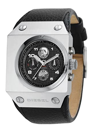 a6ad7acb9764 Diesel DZ9019 Gents Black Label Chronograph Black Leather Strap Watch   Amazon.co.uk  Watches
