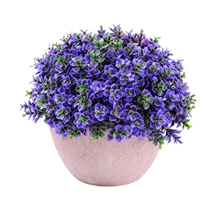 Amazoncom Greendec Small Artificial Potted Plants 1 Pack Mini