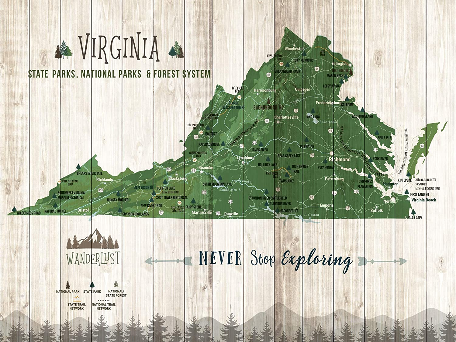 Map Of Virginia State Parks Amazon.com: Virginia State Parks, State Parks of Virginia, Push