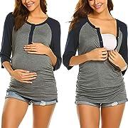 Ekouaer Women Breastfeeding Nursing Tops Button 3/4 Sleeve Maternity Shirt (Black S)