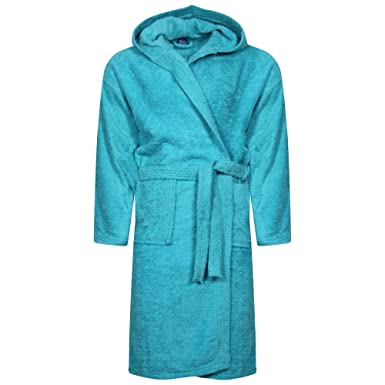 WKDS® Men 100% Cotton Turquoise Terry Towel Bathrobe Hooded Shawl Collar  Dressing Gown Bath Robe  Amazon.co.uk  Clothing f7affb2e4