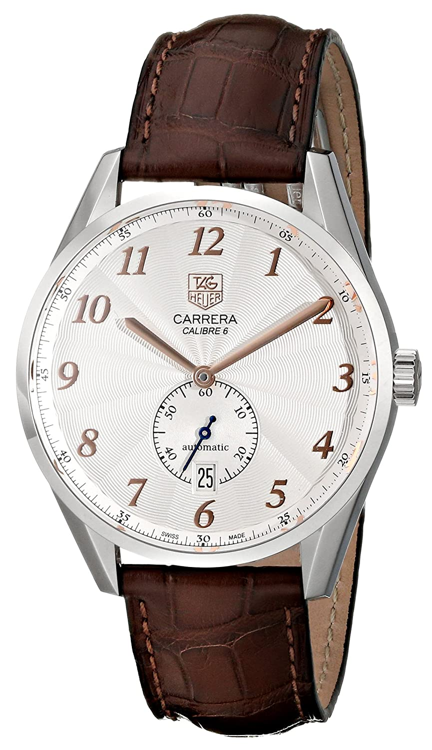 251309c1eec Amazon.com: Tag Heuer Men's 'Carrera' Silver Dial Brown Leather Strap Watch  WAS2112.FC6181: Tag Heuer: Watches