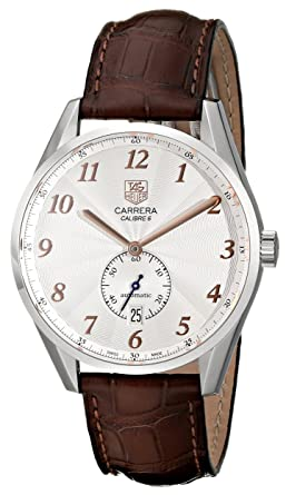 df21430a89c Image Unavailable. Image not available for. Color: Tag Heuer Men's 'Carrera'  Silver Dial Brown Leather Strap Watch ...