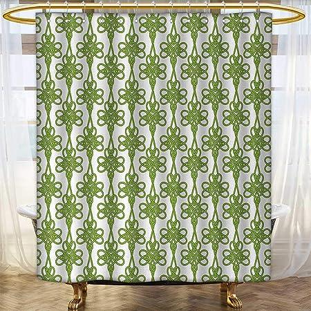 Anhounine Irish Shower Curtains Waterproof Entangled Clover Leaves Twigs Celtic Pattern Botanical Filigree Inspired Retro Tile