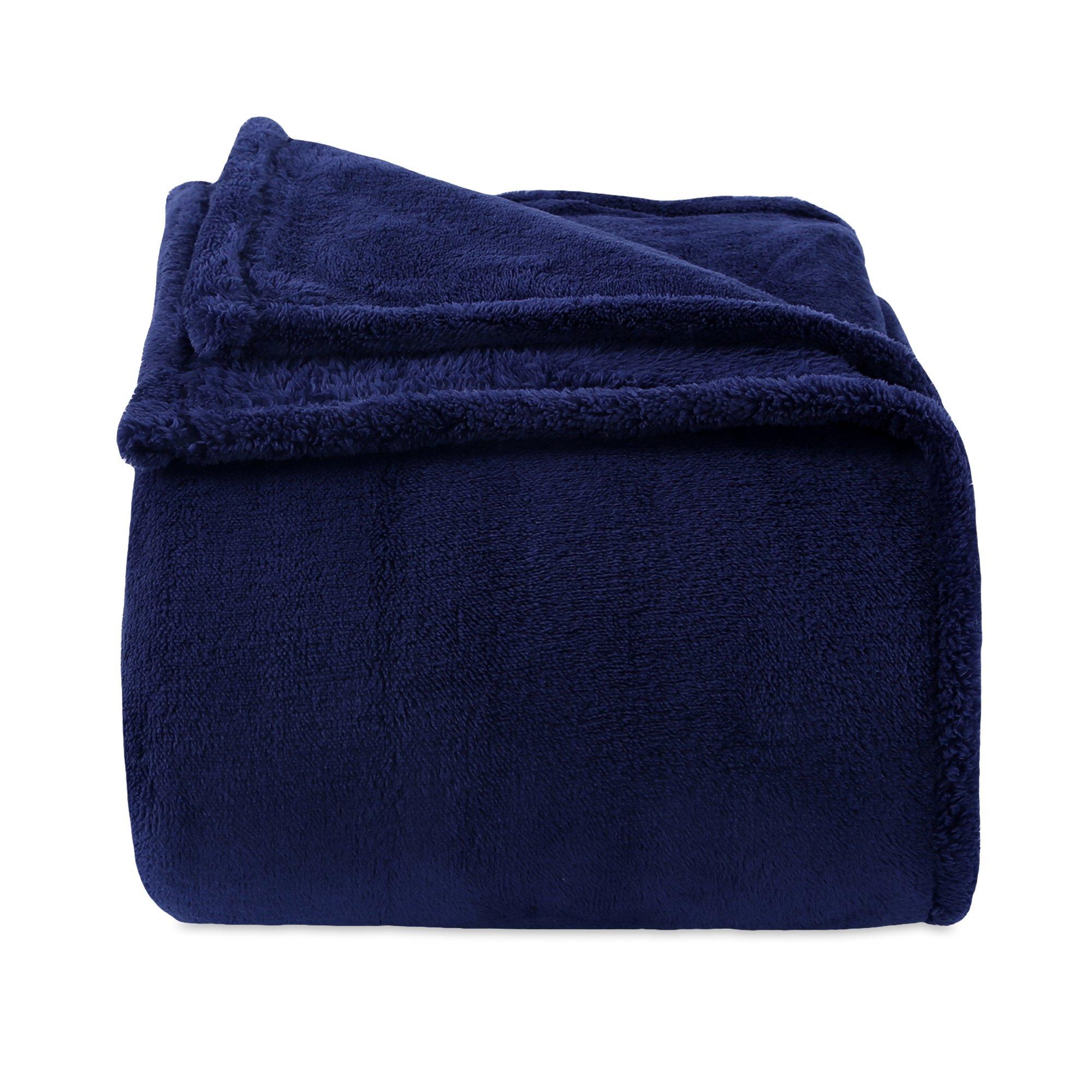 Fuzzy Plush Bed Blanket, Full/Queen Dark Blue