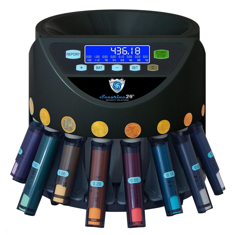 Securina24 Contador de monedas Euro SecuRina1200LCD con casillas y dispositivo enrollador (negro - BBB - LCD): Amazon.es: Oficina y papelería
