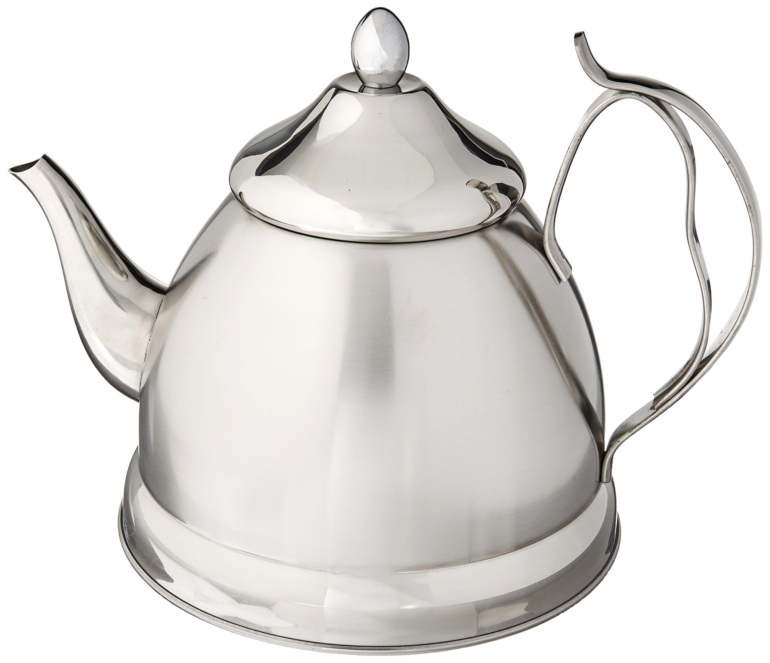 Creative Home Nobili-Tea 2.0 Qt. Stainless Steel Tea Kettle with Removable Infuser Basket, Brushed Body Finish