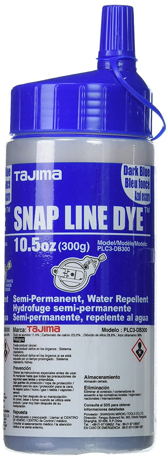 Tajima PLC3-DB300 Chalk-Rite Ultra Fine Permanent Snap Line Powder Dye, Dark Blue, 10.5 oz - - Amazon.com