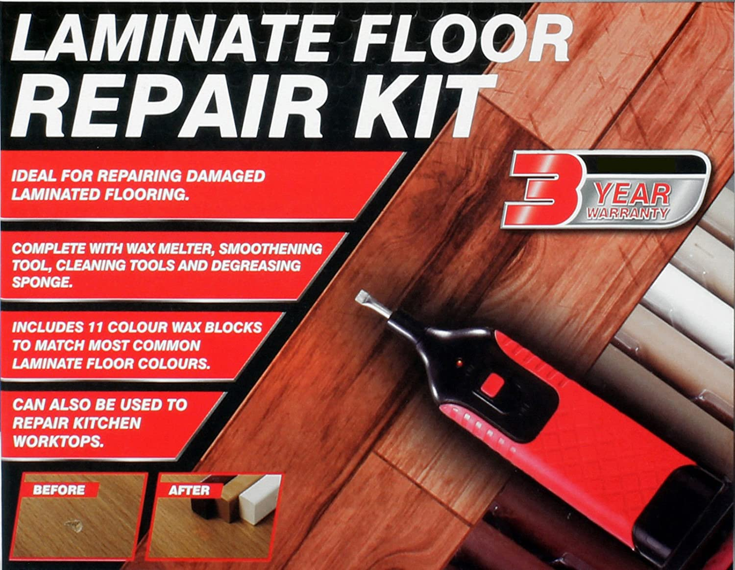 Vivo © 19pc Laminate Floor / Worktop Repair Kit Wax System Sturdy Case  Chips Scratches: Amazon.co.uk: Garden U0026 Outdoors