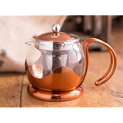 Creative Tops 1200 ml Copper and Glass Cafetiere Teapot