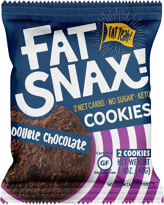 Fat Snax Galletas - baja en carbohidratos, Keto, y Sin Azúcar (chip de chocolate doble, 6-pack (12 galletas)) - Keto-Friendly y sin gluten Snack Foods