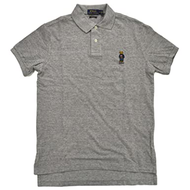Polo Ralph Lauren Mens Custom Fit Bear Logo Polo Shirt (X-Small, Grey