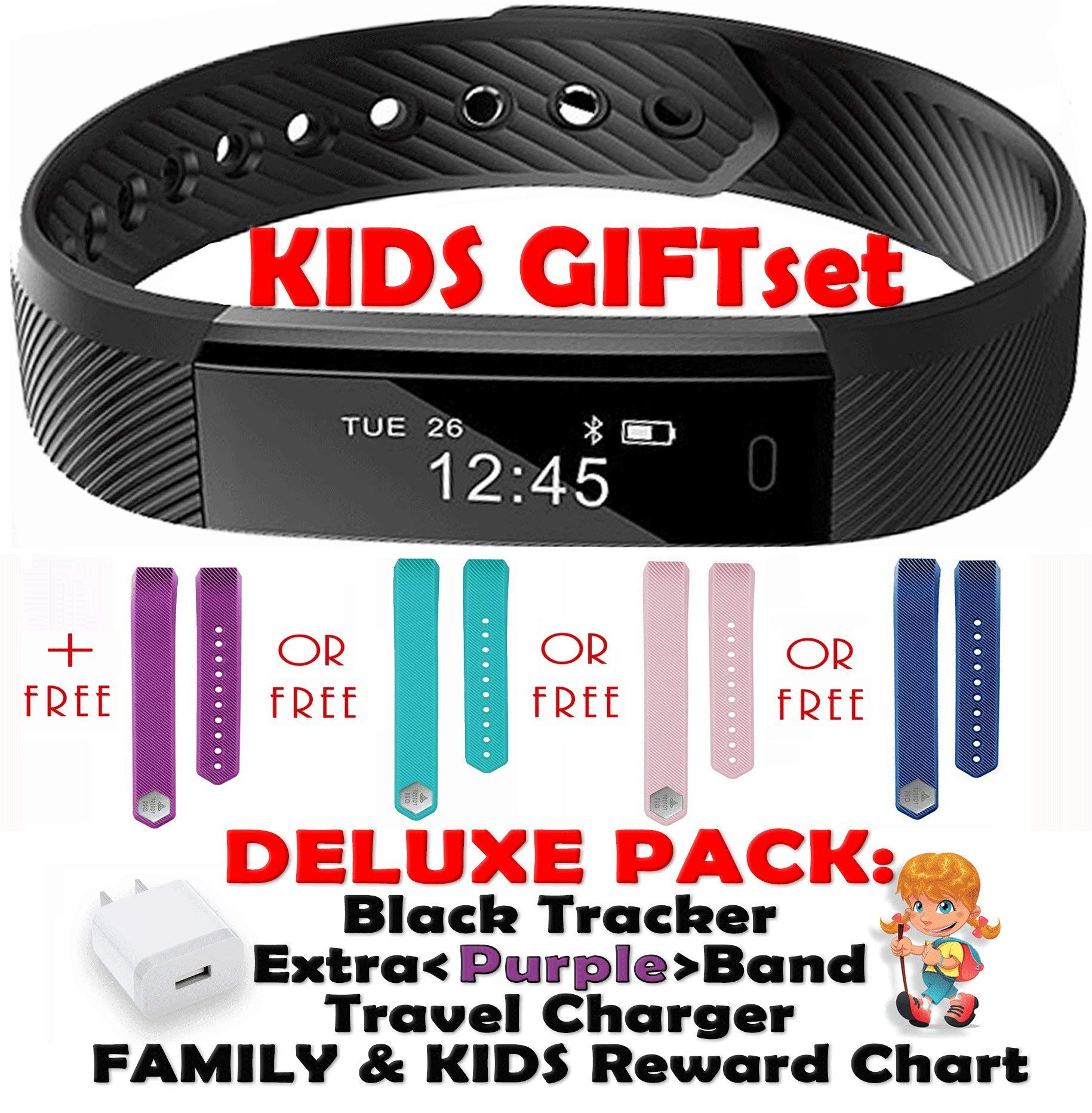 Kids Fitness Tracker for Kids Activity Tracker - Smart Watch for Android Phones iOS Digital Smart Bluetooth Step Counter Sleep Monitor Exercise Pedometer Alarm Remin - Purple Gift Set Black 2 Bands by TRENDY PRO