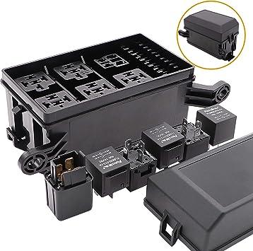 1 Set 6 Way ATO//ATC Fuse Holder Relay Box Spade Terminal 12V 40A Relays