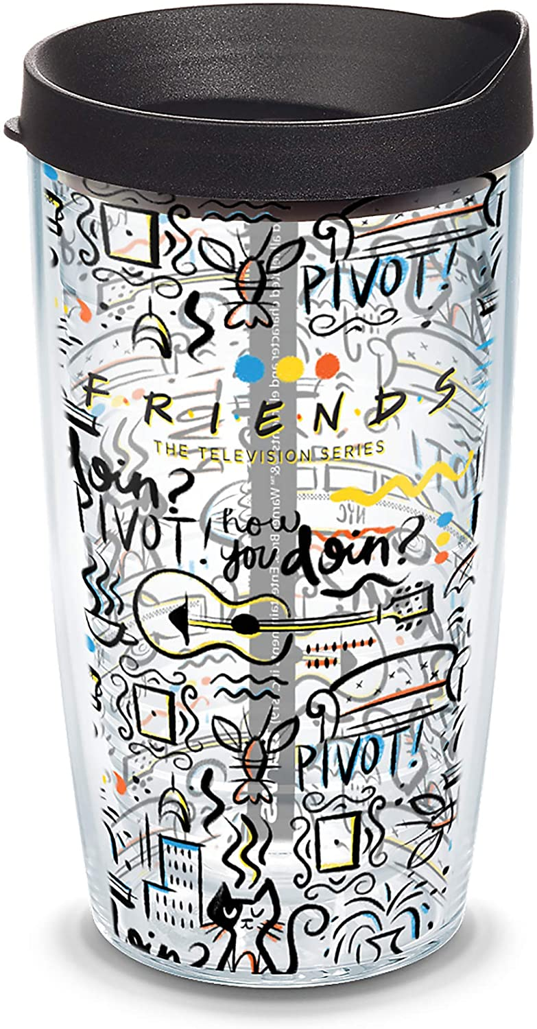 Tervis Warner Brothers - Friends Pattern Insulated Travel Tumbler & Lid, 16 oz, Clear
