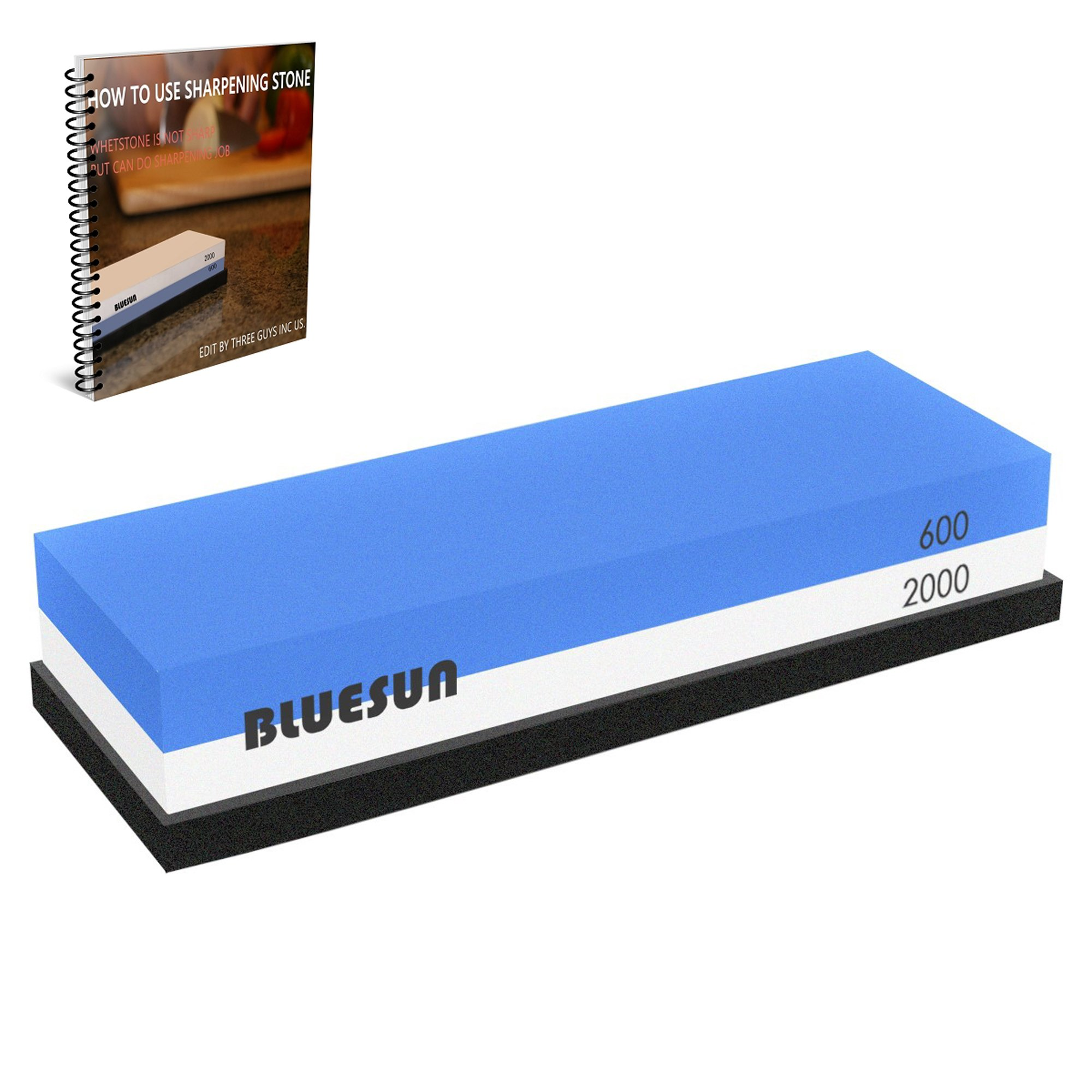 BLUESUN Knife Sharpening Sharpener Stone Whetstone Waterstone 600 2000 Grit, Silicon Non Slip Base and Ebook Included For Kitchen Knives, Tactical Knives, Scissors, Razors, Swords