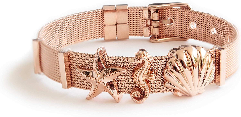 LIKERY Oceanlover - Pulsera con 3 charms, concha, estrella de mar, caballito de mar, pulsera de malla de acero inoxidable para mujer, en oro, oro rosa y plata